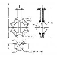 Lug Style Butterfly Valves-DIMENSIONS - Bare Shaft-Drawing