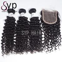 Buy cheap Deep Curly 100% Human Hair Weave Extensions Double Weft For Black Girl from wholesalers