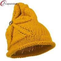 China Women Acrylic Beanie Winter Hats with Flower Accent Button / Rolled Brim wholesale