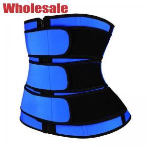 China YKK Zipper 3 Belts Waist Trainer Blue Plus Size Waist Trainer For Lower Belly wholesale