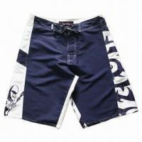 China Boardshorts with Solid and Print Fabric Together, Four Eyelets, High Quality Waist Drawstring wholesale