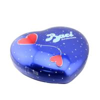 Quality Baci Chocolate Tin Box Heart Shaped Metal Can With Base Blue Color for sale