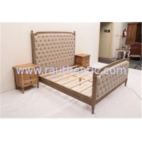 China Sturdy High Headboard King Size Upholstered Platform Bed , Custom Wood And Upholstered Beds wholesale