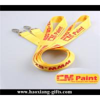 China hot sale 20*1000mm yellow color customized printing logo fabric polyester lanyard wholesale