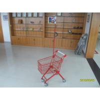 China Green Powder Coating 33 Liter Metal Kids Shopping Carts With Flag wholesale