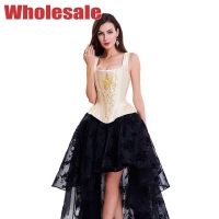 China Flower Printed Vintage Bustier And Corset Yellow Vest For Women wholesale