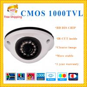 China DIS CHIP 1000TVL CMOS camera with IR-CUT weatherproof Dome security Camera 12 IR LED indoor outdoor CCTV Camera wholesale