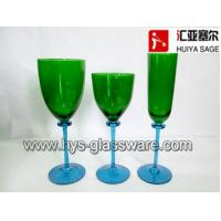 China Sprayed colors, flute/red wine/white wine glasses, green blue hand blown china supplier wholesale