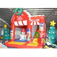 Quality Snowman Christmas Inflatable Jumping Castle Childrens Bouncy Castle With Slide for sale