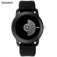 China Fashion Men Rubber Band Rotary Quartz Wrist Watches IP Black Plating Casual Watches L815 wholesale