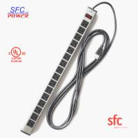 "China 24"" Horizontal Metal Multi Socket Extension Lead Grounded 16 Way With Circuit Breaker wholesale"