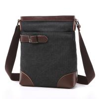 China Male Poly Cotton Cross Shoulder Bag Smooth Zipper OEM With Soft Canvas Fabric wholesale