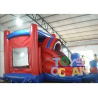 China Customized Green / Blue Inflatable Spider Man Bouncer House With Slide wholesale