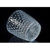 China Embossed Nail Design Glass Candle Holder Christmas Deco Glass Candle Jars wholesale
