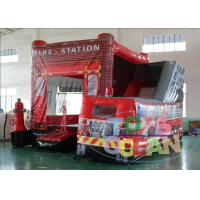 China Commercial Red Fire Station Car Inflatable Bouncer Combo 5x5m With Slide wholesale