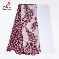 China 130CM Polyester Guipure Lace Fabric / African Beaded Flower Lace Embroidery Fabric For Clothing wholesale