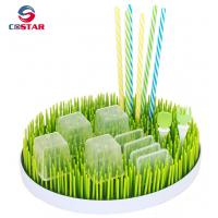 China Round shaped plastic green lawn countertop baby bottle grass drying rack drainer rack wholesale