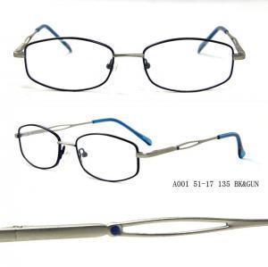 China Blue Metal Optical Eyeglasses Rectangular Frames For Women , Full Rim wholesale