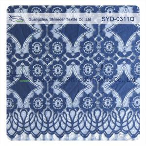 China Scallop Cotton Nylon Lace Geometric Lace , Navy Lace Fabric Eco - Friendly Dyeing wholesale