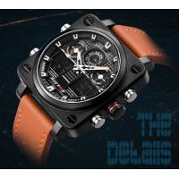 Quality Wholesale RISTOS Men Dual Time Genuine Leather Strap 3 ATM Waterproof Multifunction Chronograph  Wrist Watches 9343 for sale