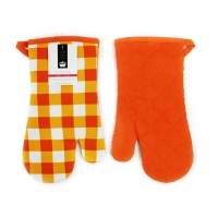 China Blue Check Print Canvas Poly Cotton Cheap Custom Microwave Glove Oven Mitt wholesale