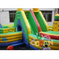 Quality Green Yellow Inflatable Maze Outdoor Bouncy Castle Playground Fireproof 16 * 8m for sale