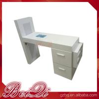 Quality Modern manicure table vacuum and nail salon furniture cheap nail table white color for sale