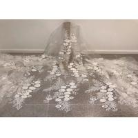"""China Off White Mesh 3D Flower Embroidery Beaded Lace Fabric 50"""" Wide 1 Yard wholesale"""