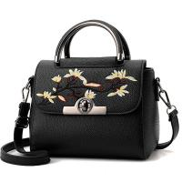 China Embroidered PU Women Leather Messenger Bag ,Hand Totes  Ladies Shoulder Bag With Zipper Hide Porket wholesale