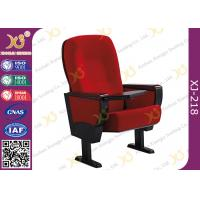 China Solid Rubber Wood Armrest Audience Seating Chairs Fire Retardant Fabric wholesale