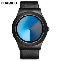 China Boamigo Creative Brilliant Dial Men Leather Band Quartz Causal Wrist Watches L825 wholesale