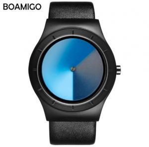 China Boamigo Creative Brilliant Dial Men Leather Band Quartz Causal Wrist Watches L825 wholesale