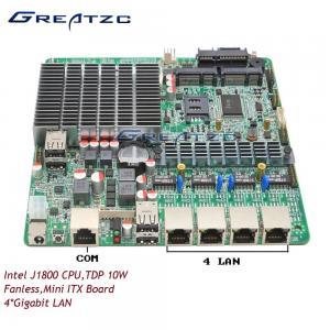 China DC 12V Power Quad LAN Motherboard Fanless Board Dual Core J1800 With 4 Intel LAN wholesale