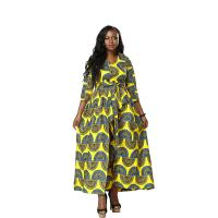 China Any Season Can Wear Women Nine Points Sleeve Of  African Printed Dresses, The Waist Belt wholesale