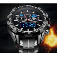China Wholesale Boamigo Men Minitary Sport Watches 3D Dial Analogueand Digital   Dual Time Steel Strap Chronograph  Watch F904 wholesale