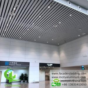 China White Fireproof Aluminum Ceiling Tiles , Aluminum Perforated Ceiling  Strip  Type  Interior Exterior Powder Coated wholesale