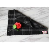 "Quality 59"" Width Tartan Wool Fabric Black Background With White Line 40% Polyester for sale"