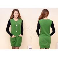 China Light Green Womens Wool Skirts Long Pullover For Winter , Breathable wholesale