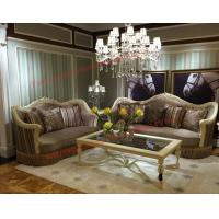 China Luxury Design and Romantic Sofa set made by Wooden Carving Frame with Fabric Upholstery wholesale