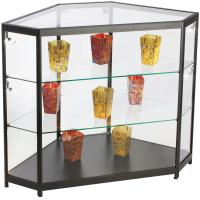China 4ft Mobile Phone Display Cabinet , Black Glass Corner Display Cabinet With Lock wholesale
