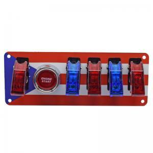 China 12V Switch Panel Puerto Rican Flag, Push Start, 1 WHITE/4 RED LED Toggle Switch wholesale