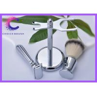Quality Set - Safety Shaving Brush Set Stand & Synthetic Brush Included Deluxe Chrome Color for sale