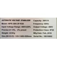 Quality 30KVA 380V Automatic Three Phase Voltage Stabilizer,60Hz  Super Low Voltage, Latest AVR Technology for sale