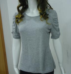 Self Tape Grey Womens Casual Tops T Shirts , Fashion Smock T Shirt Tops