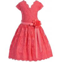 Coral V Neck Cap Sleeves Little Girls Holiday Dresses , Kids Birthday Frocks Rose Lace Flower Belt