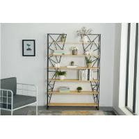 China Nordic iron bookshelf, creative wood shelf,simple modern living room storage rack wholesale