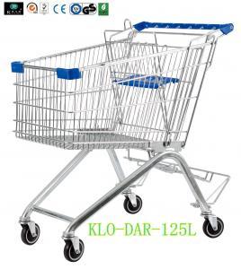 125L Toddler Metal Supermarket Cart With Beer Rack / 4 Swivel 4 Inch PU Wheel