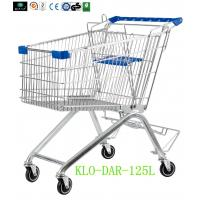 Quality 125L Toddler Metal Supermarket Cart With Beer Rack / 4 Swivel 4 Inch PU Wheel for sale