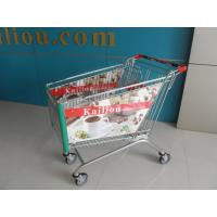 Quality 180L Acrylic Advertisement Supermarket Shopping Trolley 4 Wheels ISO9001 - 2008 for sale