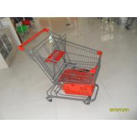 80L Supermarket Shopping Trolley With Grey Powder Coating And Shopping Basket